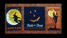 Halloween Fabric Panel, Clothworks Jeepers Creepers Dan DiPaolo, Halloween Words & Images, Quilt Fabric Panel, x Cotton Halloween Words, Halloween Images, Happy Halloween, Halloween Quilt Fabric, Halloween Runner, Jeepers Creepers, Cotton Quilts, Fabric Panels, Trick Or Treat