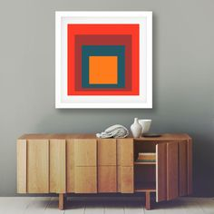 Abstract Art Print Square Peach with Blue Minimalist Art Giclee Art Print (8 sizes available) by WallBuddy on Etsy