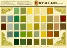 "Sherin Williams ""Heritage Colors"" 1820-1920 color palette"
