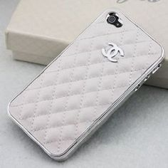 Amazon.com: Luxury Designer White leather Chrome Frame Hard Cover Case for Iphone 4/4s White Iphone 4/4s: Cell Phones & Accessories