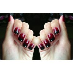Wine red/black gradient nails ❤ liked on Polyvore featuring beauty products, nail care, nails, makeup, beauty, nail polish and unhas