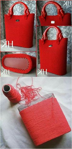 DIY Coil rope bowl tutorial and materials. Woven rope basket making kit and instructions DIY DIY Coil rope bowl tutorial and materials. Woven rope basket making kit and instructions DIY,Alles was gefällt mason jar. Crochet Tote, Crochet Handbags, Crochet Purses, Knit Crochet, Crochet Collar, Free Crochet, Diy Bags Purses, Mason Jar Diy, Knitted Bags