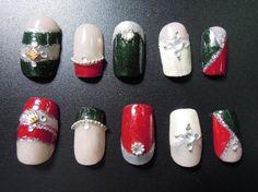 Red White and Green Festive Japanese-Inspired Bling Nail Set, S$28.00
