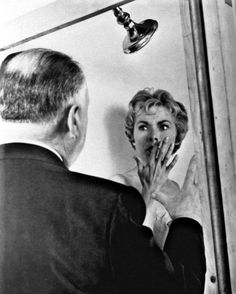 Hitchcock directing the shower scene in Psycho
