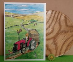 A perfect card for any tractor fan. ideal for birthdays or just to put a smile on some one's face. The card is A6 (148 x 105 mm) in size and blank inside for your own special message. It comes cello wrapped with a green envelope.Also available as an A3 print.This card is in stock and ready to ship internationally in 1-2 business days.FREE UK SHIPPING!Click on the 'SHIPPING AND RETURNS' page below for more details on shipping.