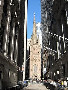 Trinity Church (also known as Trinity Wall Street) at 79 Broadway, Lower Manhattan, is a historic, active parish church in the Episcopal Diocese of New York. Trinity Church is at the intersection of Wall Street and Broadway, in New York. Built:   1846