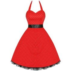 LADIES NEW RED BLACK POLKA DOT VTG 50S SWING PINUP PARTY PROM DRESS,£29.99