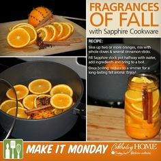 Preparing for fall or having guests over soon? Use this autumn simmer recipe of oranges, cinnamon and cloves in your home. The scent carries into multiple rooms and it can be reheated for several days.  Celebrating Home Sapphire cookware makes this simmer easy to make and easy to clean.   Shop our Sapphire Cookware today!