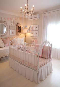 "Baby room idea: A feminine nursery ""I wanted Charlotte's nursery to be soft and feminine but not too babyish,"" says Durban interior decorator Lisa Walters. Baby Room Themes, Baby Room Decor, Nursery Room, Girl Nursery, Nursery Ideas, Kids Bedroom, Princess Nursery Theme, Baby Furniture Sets, Furniture Layout"
