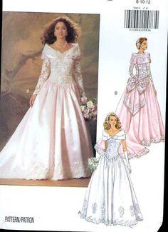 Butterick 5831 Pattern Bow Bustle Wedding Dress Cape Collar Pointed Waist B31/34 #Wedding #WeddingDressPatterns