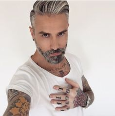 cool Grey hair street style funky. hair and beard option for when I am over 40......