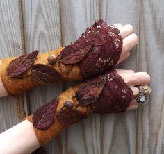 Forest Cuffs - Faerie Cuffs - Vintage lace ...