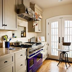 BHG - galley kitchen - lots of ideas i like in the first kitchen, for new house.