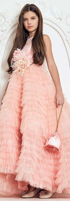 JUNONA Peach Pink Designer Tulle Party Dress Set from the Spring Summer 2018 Collection. Love this ivory lace dress decorated with beautiful red floral appliqué with pearl centres. Perfect vintage style party dress for a little princess at any special occasion or wedding. Pretty Style for for stylish kid, tween and teen girls. #kidsfashion #fashionkids #girlsdresses #childrensclothing #girlsclothes #girlsclothing #girlsfashion #cute #girl #kids #fashion #flowergirl