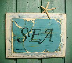 SEA Sign Map Wall Art Door Panel Beach House by CastawaysHall, $42.00