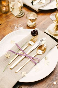 Place Setting - Simple Elegance |  More Wedding Inspiration on Style Me Pretty - http://www.StyleMePretty.com/2014/01/03/organic-glamour-inspiration-shoot-wiup/ Brklyn View Photography