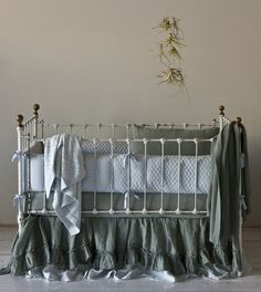 Linen Quilted 3-Piece Crib Bedding Set