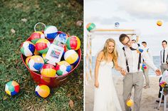For your beach wedding, give your guests mini beach balls to throw during the send-off.