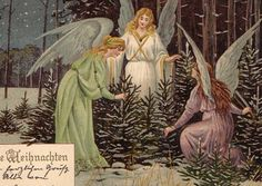 CHRISTMAS ANGELs select TREE in WINTER NIGHT sign MAILICK flat 1900 GREAT !!!