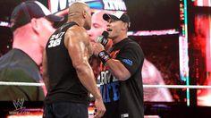 The Rock and John Cena face-to-face.