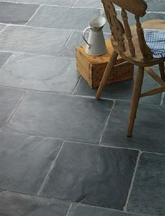 Black, Grey & Green Slate Tiles & Flagstones - our wonderful range of natural slate tiles can be used inside & outside. Try our Rustic black slate flagstones for traditional stone flooring or our green slate tiles for a more contemporary look. Flagstone Flooring, Slate Flooring, Slate Tiles, Flooring Ideas, Grey Tile Floors, Grey Slate Floor Tiles, Slate Pavers, Slate Patio, Grey Grout