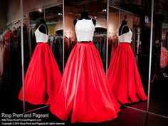 Red Satin Long Two Piece-Ivory Lace Crop Top-Spaghetti Straps-116DJ014350