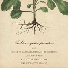 """""""Roots"""" Invitation, by John Derian, Paperless Post. http://paperless.ly/J7P7zU"""