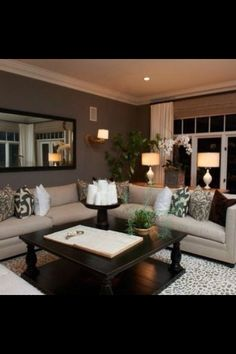 Living Room Color Scheme But With Brown Couch, And Light Coffee Table