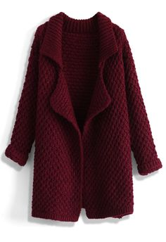 Waffle Knit Open Cardigan in Wine - Outers - Retro, Indie and Unique Fashion Shawl Collar Cardigan, Knit Cardigan, Marsala, Unique Fashion, Indie, Purple Cardigan, Waffle Knit, Open Front Cardigan, Outfits