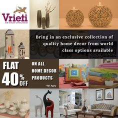 Flat 40% discount on all #homedecor products. Visit #Vrieti and Shop from wide variety of options available. HURRY Up ! Don't miss the #opportunity.  For more queries, Call: +91 120 4311245  #Sale #OnlineSale #GSTSale #Home #Interiors