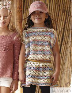 Revista Niños 85 Primavera / Verano   24: Niños Poncho   Beige-Camel-Chicle-Tejano