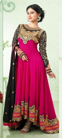 412317, Bollywood Salwar Kameez, Faux Georgette, Stone, Patch, Aari, Resham, Pink and Majenta Color Family