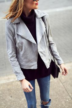 Fall Outfit, Grey Suede Moto Jacket, Black Turtleneck Sweater, Denim Ripped Skinny Jeans