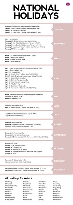 National Holidays and Hashtags - BookSparks
