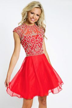 2015 Elegant Homecoming Dresses Scoop Short/Mini A Line Chiffon Beaded US$ 188.99 PGDP5HCHYFG - PrettyGirlsDresses.com