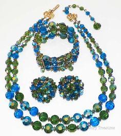 Vintage HOBE' Blue Green Aurora Borealis Necklace Bracelet Clip Earring Set $224