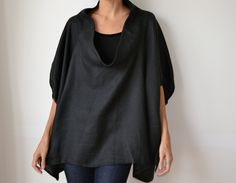 Black linen smock frock / top. Plus size and maternity, scoop neck, sleeves. One size fits all.. $180.00, via Etsy.