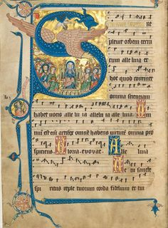 An illuminated capital 'S', the body formed by a blue dragon, on a sheet of medieval music. Das Goldene Graduale der Gisela von Kerssenbrock, 1300