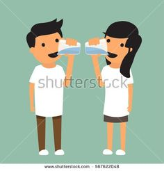 man and woman drink enough water in health concept for advertising and etc. Healthy concept vector illustration.
