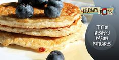Healthy Pancakes - Low GI, Gluten Free, Protein Rich. We made these for breakfast w. blueberries and a little fat free whip. Delicious! Kid-approved. #[KW]