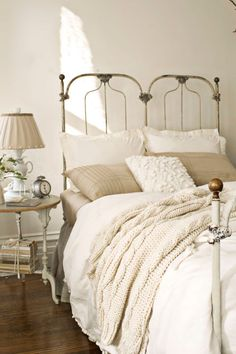 Try a Textured Throw -- Use soft colors and cozy textures, such as a cable-knit throw, for an old-world, romantic bedroom