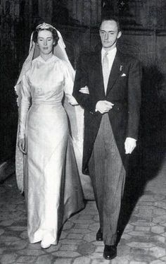 Wedding of Princess Margherita of Savoy, daughter of Duke Amedio of Aosta and Princess Anne d'Orléans, and Archduke Robert of Austria Este, second son of Emperor Charles I of Austria and Princess Zita of Bourbon-Parma, Brou, France, December 29, 1953.  The couple had five children:  Archduchess Maria Beatrice, Archduke Lorenz (husband of Princess Astrid of Belgium), Archduke Gerhard, Archduke Martin, and Archduchess Isabella.