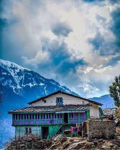 A typical Himachal house , seen here is the Parvati valley.