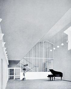 ARNE JACOBSEN, Hårby Central School (view from the lobby), Fyn, Denmark 1951.
