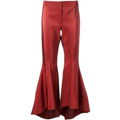 Rosie Assoulin flared trousers (€2.520) ❤ liked on Polyvore featuring pants, red silk pants, flared pants, red trousers, red pants and flare pants