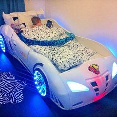 light up car bed for a little boy, this looks so cool