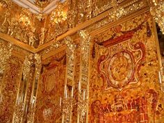 The Amber Room of the Catherine Palace, St. Petersburg, reconstructed post-WWII.