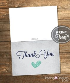 Thank You Card, Bridal Shower, Love is Sweet, Heart, Mint Green, Navy Blue, Rustic, Printable File (Custom order, INSTANT DOWNLOAD)