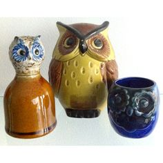 Bring some age-old wisdom to your space with this charming set of 3 bohemian ceramic owls. Circa 1960s or '70s. This gently used vintage product is in good condition. Shows some signs of age.