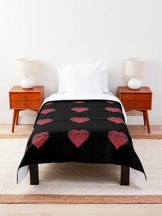 'Red Drawn Heart of Love Romantic Valentines Day' Comforter by Pamela Arsena Boho Comforters, King Size Comforters, Black Wall Decor, Black Wall Art, Floral Comforter, Trendy Home Decor, Types Of Beds, College Dorm Rooms, Beautiful Bedrooms